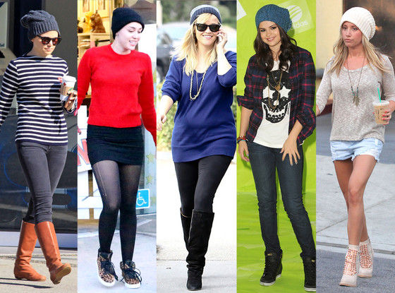 Ginnefer Goodwin, Miley Cyrus, Reese witherspoon, Slena Gomez and Ashley Tisdale all styling the perfect Slouchy Beanie that compliments all Clutch Bags