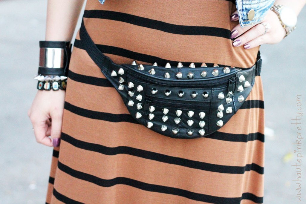 An-Dyer-wearing-Forever-21-Camel-Black-Striped-Maxi-Dress-Spiked-Stack-Rings-Distressed-Denim-Crop-Vest-Silver-Spike-BraceletCalifornia-Raw-Steel-Roger-Hayes-DIY-Studded-Leather-Fanny-Pack